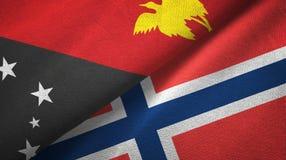Papoea-Nieuw-Guinea en Noorwegen twee vlaggen textieldoek, stoffentextuur royalty-vrije illustratie