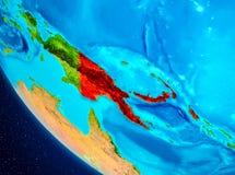 Papoea-Nieuw-Guinea op bol van ruimte Stock Afbeeldingen