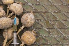 Papoila de ópio da droga dentro da seringa Toxicodependência mortal Foto de Stock