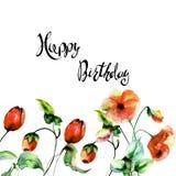 A papoila e as tulipas florescem com feliz aniversario do título Imagem de Stock Royalty Free