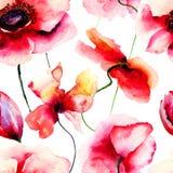 A papoila estilizado floresce a ilustração Fotografia de Stock Royalty Free