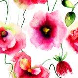 A papoila estilizado floresce a ilustração Fotografia de Stock