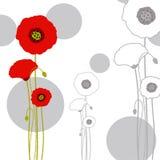 Papoila vermelha da primavera abstrata no teste padrão sem emenda Fotografia de Stock