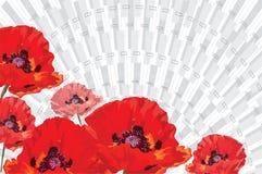 Papoilas vermelhas em um fundo de raios cinzentos, realístico pintado em v fotografia de stock royalty free