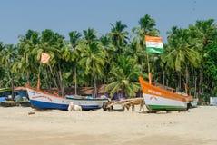 Papolem, Inida - janvier 3,2012 : Bateau de pêcheur sur le b tropical Image stock