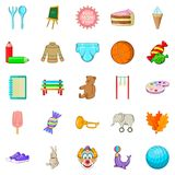 Papoose icons set, cartoon style. Papoose icons set. Cartoon set of 25 papoose vector icons for web isolated on white background Royalty Free Stock Image