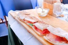 Paposcia flat bread of Gargano area and Foggia province in Apuli Stock Photography