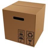 Papp som paketerar med symboler Arkivbilder