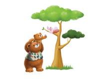 Pappabjörn och sonen Arkivfoto