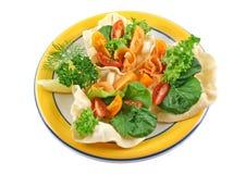 Pappadums Salmon com salada do jardim Imagens de Stock
