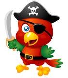 Pappagallo del pirata del fumetto Immagini Stock Libere da Diritti