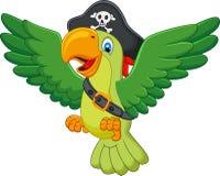 Pappagallo del pirata del fumetto Fotografia Stock Libera da Diritti