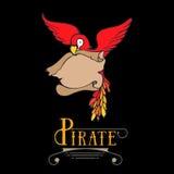 Pappagallo del pirata del fumetto del disegno della mano con il tesoro illustrazione vettoriale