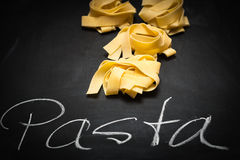 Pappardelle on a Chalkboard with Text. Pappardelle on Chalkboard with Text Pasta Stock Photos