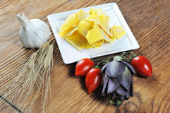 Pappardelle, homemade fresh egg pasta. With other ingredients, italian food Stock Images