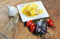 Pappardelle, homemade fresh egg pasta Stock Images
