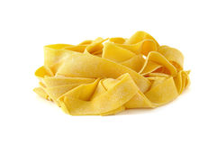 Pappardelle, italian egg pasta. Isolated on white Stock Image