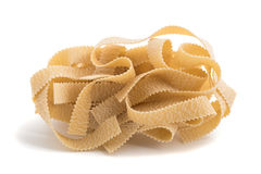 Pappardelle. Italian pasta isolated on white background Stock Image