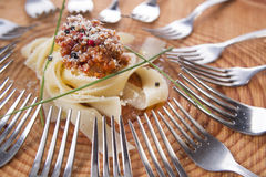 Pappardelle with meat sauce Stock Images