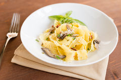Pappardelle with mushrooms Stock Image