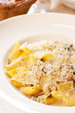 Pappardelle pasta with cheese, mushrooms and meat Stock Photo