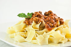 Pappardelle pasta with meat sauce Royalty Free Stock Images