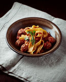 Pappardelle Pasta with Meatballs. Pappardelle pasta with tomato sauce and meatballs Stock Photos