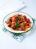 Pappardelle Pasta with Meatballs Royalty Free Stock Images