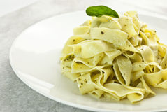 Pappardelle pasta with pesto Royalty Free Stock Image