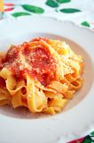 Pappardelle Pasta with Tomato Sauce Stock Photo