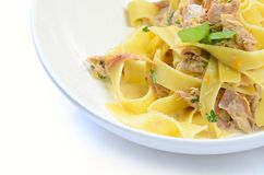 Pappardelle with a rabbit and cream Stock Image