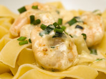Pappardelle with shrimp Royalty Free Stock Images