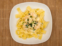 Pappardelle with shrimp Stock Image