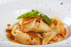 Pappardelle with tomato sauce. And basil Royalty Free Stock Image