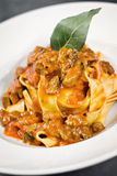 Pappardelle with wild boar. Made with italian style Stock Photos