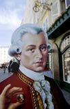 Pappe Mozart, der einen Mozart-Ball in Salzburg hält Lizenzfreies Stockfoto