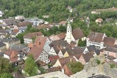 Pappenheim medeltida stad i Söder-Tyskland Royaltyfri Fotografi
