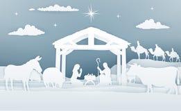 Papper Art Style för Kristi födelsejulplats vektor illustrationer