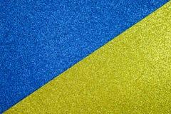 Papper blänker blått och guld- textur för bakgrund Arkivbilder