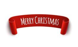 Papper buktad etikett med tecknet för glad jul Isolerad vektorillustration av röd etikettsgarnering för jul Arkivbild