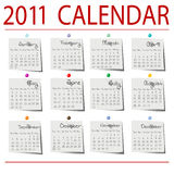 papper för 2011 kalender Royaltyfri Foto