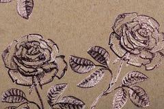 Papper för blommamodellen för räkningar för påfyllningar för textiltapetmodell ytbehandlar halsduken för tryckgåvasjalen på brunt fotografering för bildbyråer