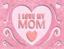 Papper för kortet för moderdagen som ut klipps älskar jag, min mamma Arkivbild