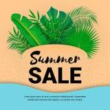 Papper för sommarförsäljningsbanret lämnar fyrkantigt vektor illustrationer