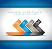 Papper formar origamiinfographics Fotografering för Bildbyråer
