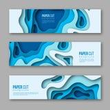 papper klippta horisontalbaner 3d Former med skugga i olika blått färgar signaler Papercraft varvade konst Design för Fotografering för Bildbyråer