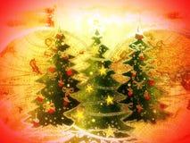 Papper med målade granträd Royaltyfri Foto