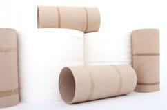 papper rullar toaletten royaltyfri bild
