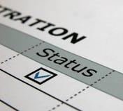 Papper status, registrering royaltyfri bild