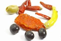 Papper y tomate de las aceitunas Imagenes de archivo